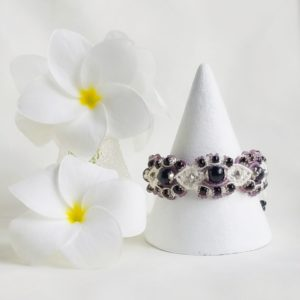 anemone bridal inspired purple macrame bracelet