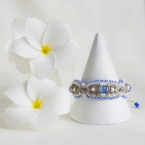 blue, silver and white bridal inspired beaded macrame bracelet