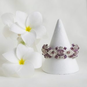 bridal inspired purple, silver and white macrame bracelet