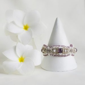 lilac, silver and white bridal inspired beaded macrame bracelet