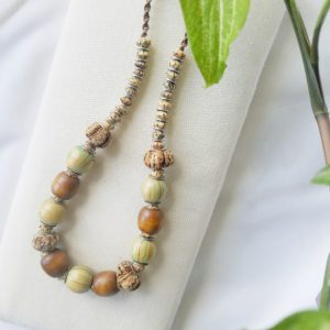 wooden beaded macrame necklace