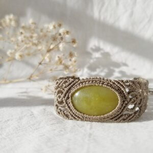 Serpentine lime-green macrame bracelet