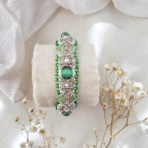 Green beaded spring inspired bridal bracelet